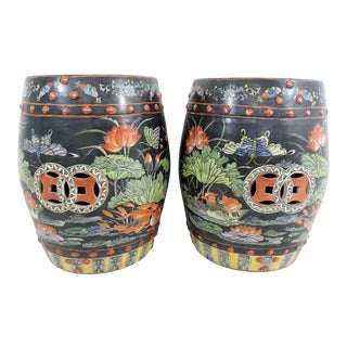 Antique Chinese Famille Noire Drum Stools With Goldfish and Lotus - a Pair (Side Tables) For Sale