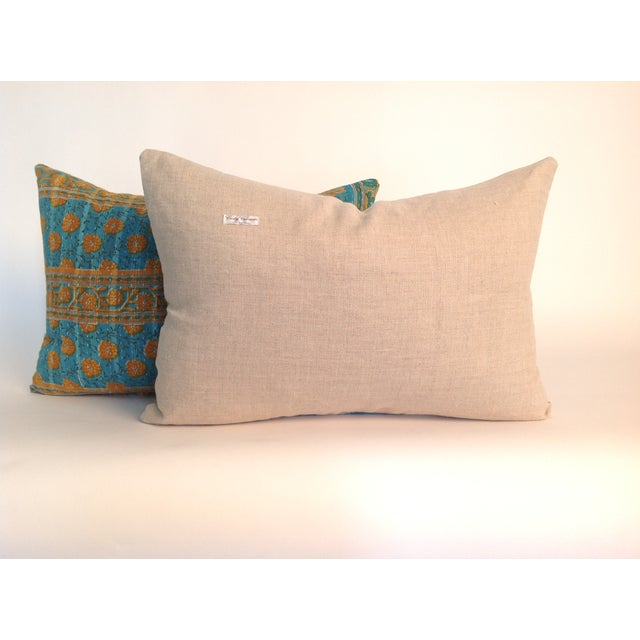 Boho Chic Vintage Indian Kantha Quilt Teal Pillows - A Pair For Sale - Image 3 of 4
