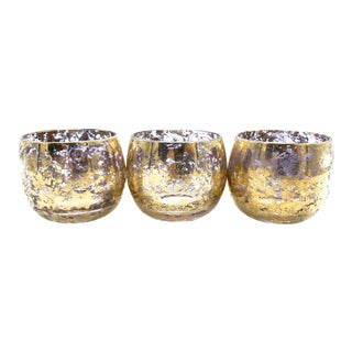 Mid-Century Modern Gold Speckled Roly Poly Barware - Set of 3 For Sale