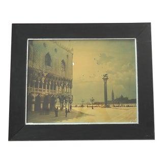 Antique Piazza San Marco Venice Hand Colored Photo