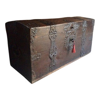 Magnificent Antique Trunk Chest Coffer Solid Oak Moorish, 18th Century Georgian For Sale