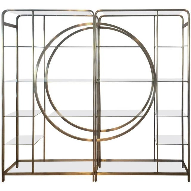 Design Institute of America Milo Baughman Vintage Brass Etagere Shelves - A Pair - Image 10 of 11