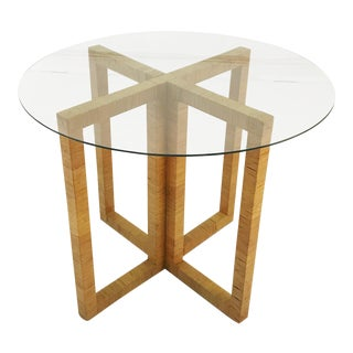 Wrapped Rattan X-Base Table For Sale
