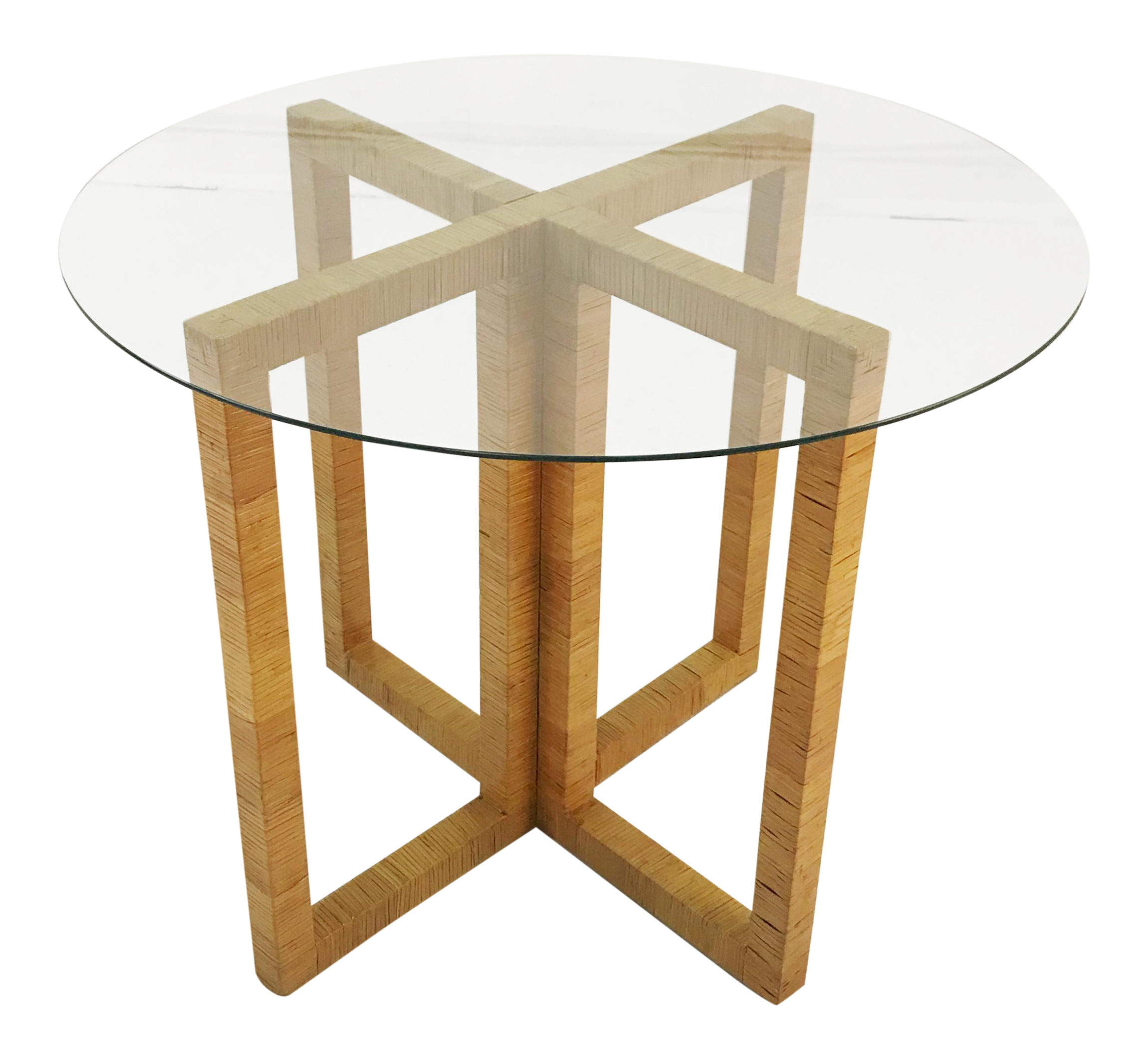 Wrapped Rattan X Base Table