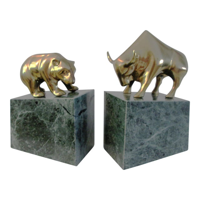 Wall Street Bull & Bear Brass Bookends - A Pair For Sale