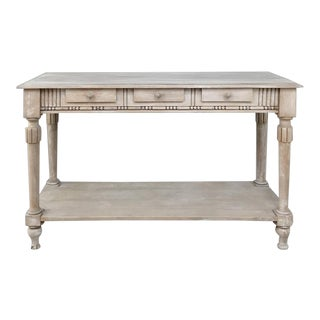 Antique Country French Whitewashed Console Table For Sale