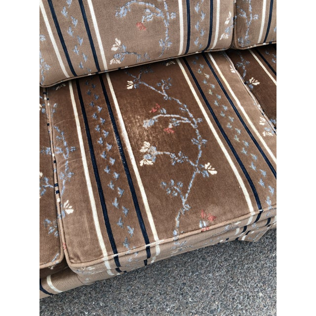 Brown 1970s Vintage Broyhill Chinoiserie Velvet Sofa For Sale - Image 8 of 13