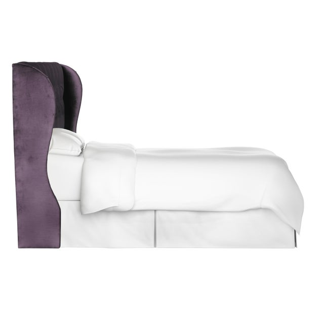 Contemporary Twin Tufted Wingback Headboard in Majestic Plum For Sale - Image 3 of 6