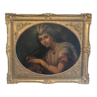 Late 19th Century Antique Constant Joseph Brochart Jeune Fille Aux Plumes Painting For Sale