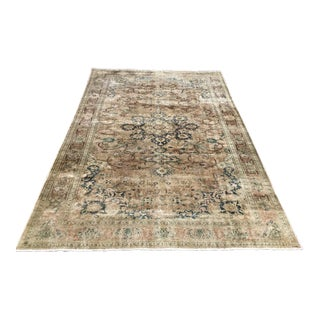 Antique Distressed Hand Knotted Oushak Rug For Sale