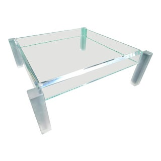 Vintage Lucite & Glass Coffee Table With Frosted Legs