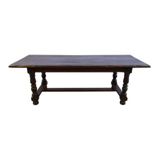 Antique French Refectory Live Edge H-Stretcher Dining Table