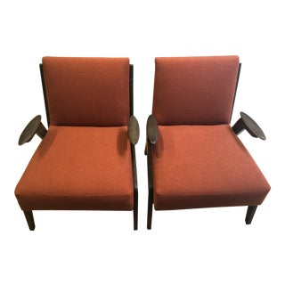Mid Century Modern Burnt Orange Upholstered Maple Side Chairs - a Pair For Sale