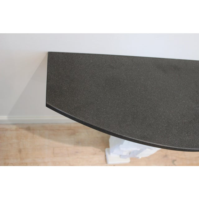 20th Century Brutalist Console Table With Black Stone Top For Sale - Image 4 of 13