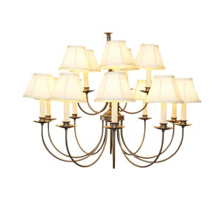 Quality 15 Light Pendant Chandelier with Shades For Sale