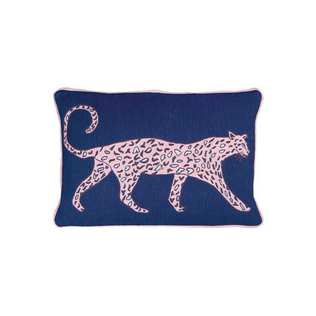 Luke Edward Hall Luke Edward Hall for the Rug Company Leopard Cobalt Cushion For Sale - Image 4 of 4