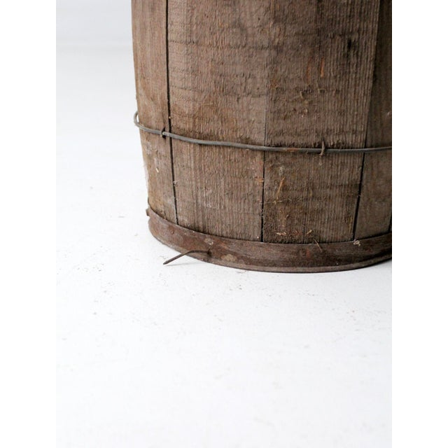 Brown Antique Primitive Wooden Barrel For Sale - Image 8 of 9