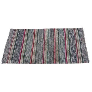 Swedish Hand-Woven Rag Rug - 2′5″ × 5′2″ For Sale