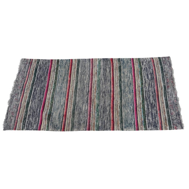 Swedish Hand-Woven Rag Rug - 2′5″ × 5′2″ For Sale