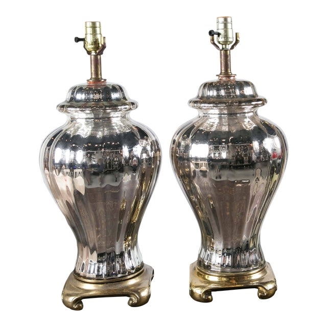 French Mercury Glass Ginger Jar Table Lamps - a Pair For Sale