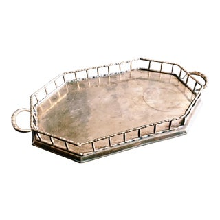 20th Century Hollywood Regency Brass Bamboo Octagon Tray For Sale