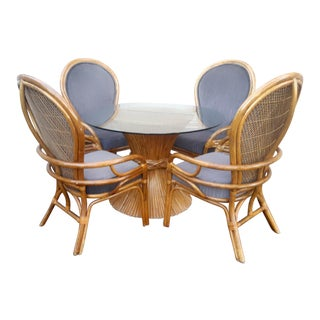 1970's Mid-Century Modern McGuire Sheaf of Wheat Bamboo Dining Set - 5 Pieces For Sale