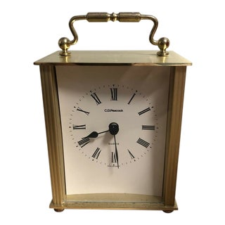 Vintage C.D.Peacock Quartz Carriage Brass Clock West Germany Runs Well For Sale