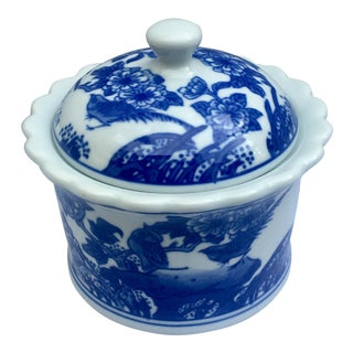Asian Blue and White Round Lidded Jar For Sale
