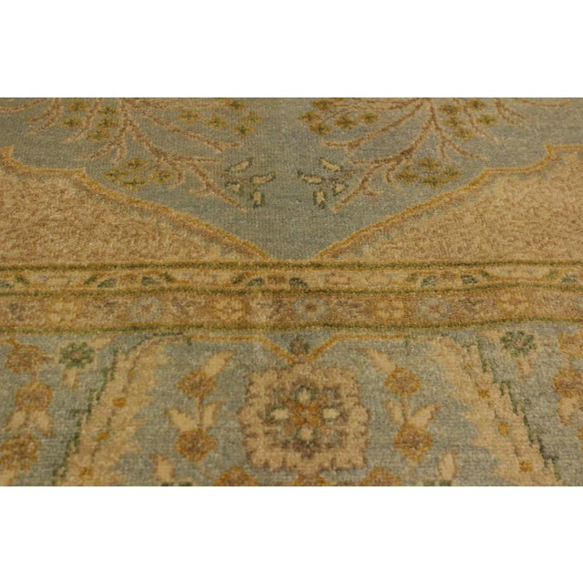 1980s Semi Antique Istanbul George Lt. Blue/Gold Turkish Hand-Knotted Rug -5'8 X 7'4 For Sale - Image 5 of 8
