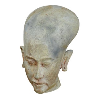 Mid 20th Century Carved Stone Bust of Egyptian Princess For Sale