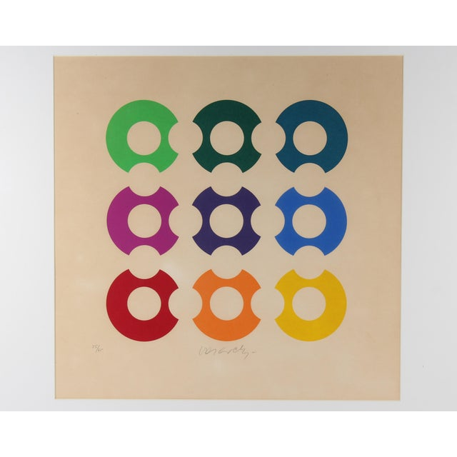 A signed limited edition serigraph print by the Hungarian-French Op Art artist Victor Vasarely (1906-1997). Signed to the...