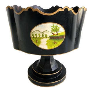 Antique Black Oval Italian Painted Planter