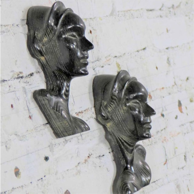 Early 20th Century Art Deco Style Ebonized Oak Carved Female Bust Vintage Wall Sculptures, a Pair For Sale - Image 5 of 13