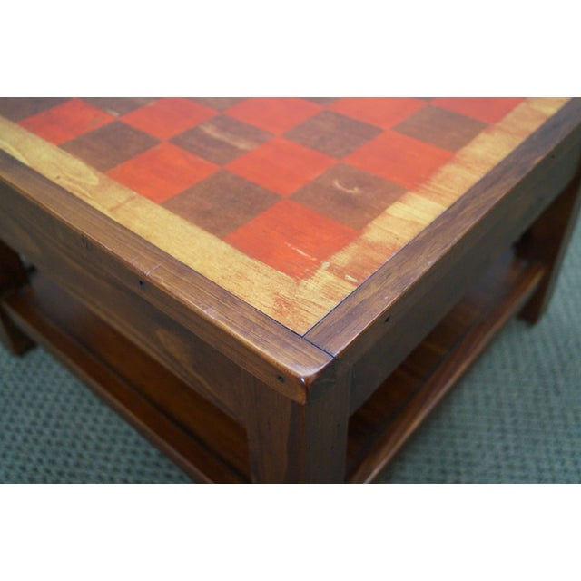 Solid Pine Primitive Checkerboard Top Side Table - Image 6 of 10