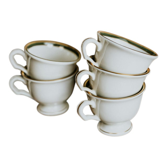 Pickard Green and Gold Accent China Mugs - Set of 5 For Sale