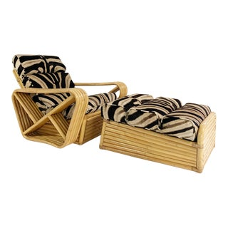 Vintage Rattan Lounge Chair and Ottoman in Zebra Hide For Sale