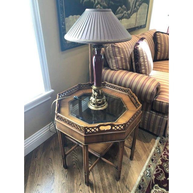 Maitland Smith Bamboo Form Octagon Shaped End / Lamp Table With Bevelled Glass For Sale In New York - Image 6 of 13