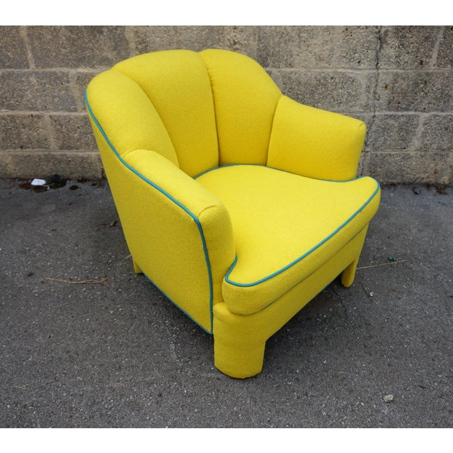Vintage 80s Yellow Club Chair & Ottoman - Image 4 of 8