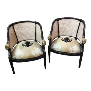 1960s Hollywood Regency Rams Head Arm Chairs - a Pair For Sale