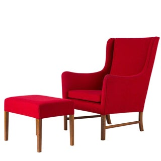 Ole Wanscher Lounge Chair and Stool For Sale