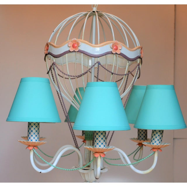 Lights 1960s Vintage Italian Tole Hot Air Balloon Chandelier For Sale - Image 7 of 12