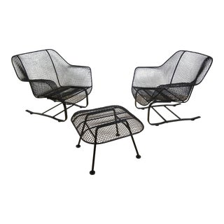1950s Mid Century Modern Russell Woodard Sculptura Bouncer Lounge Chairs and Ottoman - 3 Pieces