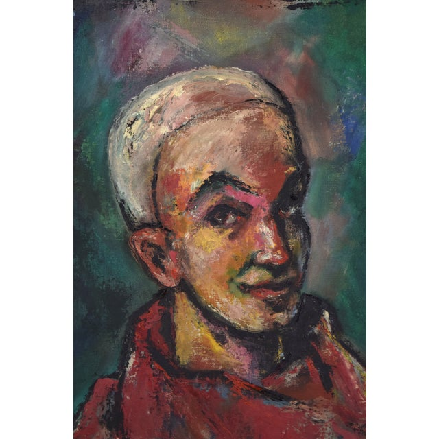 """Abstract Vintage Abstract Oil Painting """"Self Portrait in the Circus"""" by Nik Krevitsky For Sale - Image 3 of 7"""