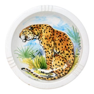 Vintage Made in Italy Signed Hand-Painted Leopard Ashtray For Sale