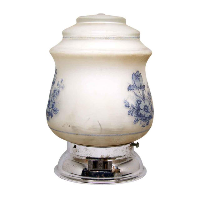 White Blue & White Floral Globe Flush Mount Fixture For Sale - Image 8 of 8