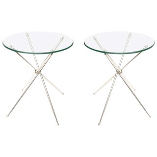 Tripod Silver-Plate and Glass Folding Side or Drink Tables Vintage Pair Of - a Pair For Sale