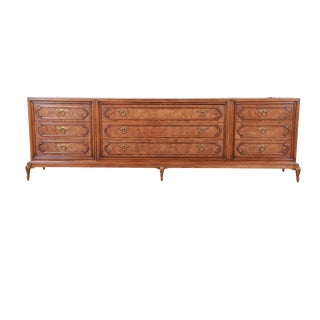 Mastercraft Mid-Century Hollywood Regency Burl Wood Long Dresser or Credenza, 1960s For Sale