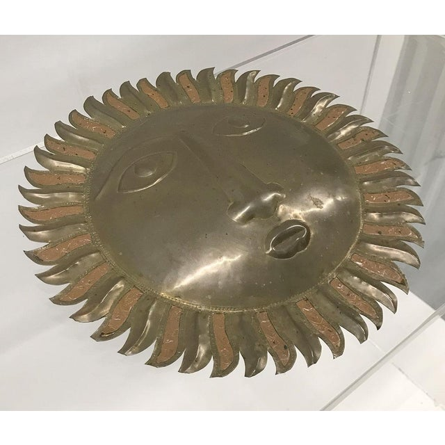 Sergio Bustamante Sergio Bustamante-Style Brass and Copper Sun Wall Sculpture, 1970s For Sale - Image 4 of 9