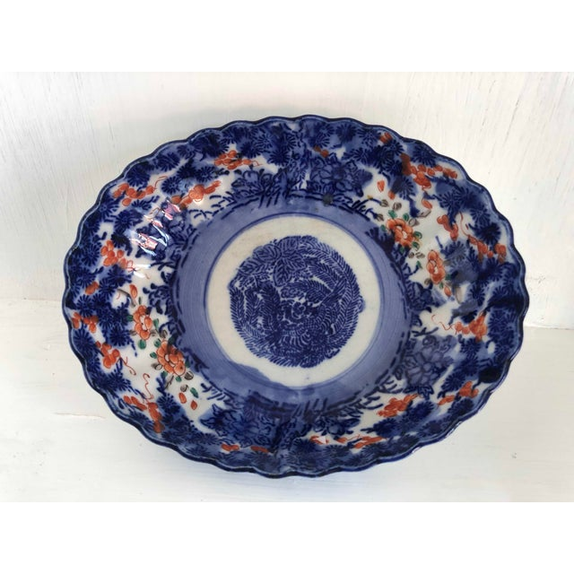 19th Century Antique Japanese Imari Oval Scalloped Bowl For Sale - Image 5 of 12