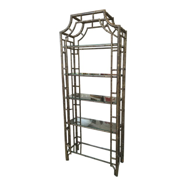 60s Vintage Hollywood Regency Faux Bamboo Bronze Patina Etagere - Image 1 of 9